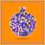 Decorative ornamental pomegranate made of mosaic texture. Vector illustration of fruit logo. Crazy colors abstract hand drawn vect. Or pattern. Boho fashion Royalty Free Stock Photo