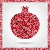 Decorative ornamental pomegranate made of mosaic texture. Vector illustration of fruit logo. Crazy colors abstract hand drawn vect. Or pattern. Boho fashion Stock Photography