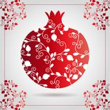 Decorative ornamental pomegranate made of swirl doodles for Rosh Hashanah greeting card, Jewish New Year. Rosh hashana, sukkot Jew. Ish Holiday. Vector Royalty Free Stock Images