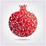 Decorative ornamental pomegranate made of swirl doodles for Rosh Hashanah greeting card, Jewish New Year. Rosh hashana, sukkot Jew Royalty Free Stock Photo