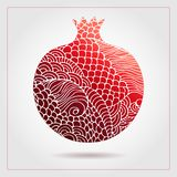 Decorative ornamental pomegranate made of swirl doodles. Vector abstract illustration of fruit logo for branding, poster or packag. Ing design Stock Photography
