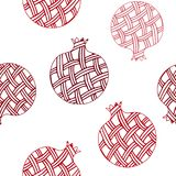 Decorative ornamental pomegranate made of swirl doodles. Vector abstract illustration of fruit, seamless pattern. Decorative ornamental pomegranate made of Stock Photo