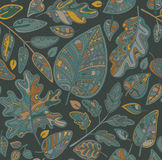 Decorative ornamental seamless pattern with leaves Stock Images