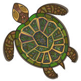 Decorative ornamental turtle with sign, colorful ethnic pattern. Stock Image