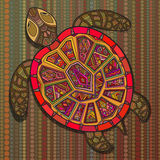 Decorative ornamental turtle with sign, colorful ethnic pattern. Geometric and floral textures for print, wallpaper, web pages, surface design, textile Stock Photos