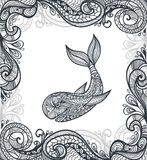 Decorative ornamental whale with frame in  Zen-tangle  style black on white Royalty Free Stock Images