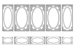 Decorative Ornamented frames for walls or backgrounds. Interior design decoration panels. Classic Baroque Vintage style. Vector frame stock illustration