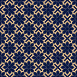 Decorative ornaments, colored seamless pattern. Wallpaper background with blue and golden elements Stock Image