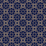 Decorative ornaments, colored seamless pattern. Wallpaper background with blue and golden elements Royalty Free Stock Photo