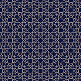 Decorative ornaments, colored seamless pattern. Wallpaper background with blue and golden elements Stock Images