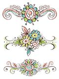 Decorative ornaments with hand draw  flowers Royalty Free Stock Images
