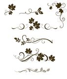 Vector set of autumn calligraphic elements, dividers and ornaments with maple, oak and rowan leaves vector illustration