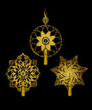 Decorative Ornaments with Tassels. A set of 3 golden ornaments, with removable tassels. All elements in the  file are isolated on background Royalty Free Stock Image
