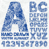 Decorative ornate alphabet. Hand drawing vector number  Stock Image