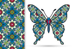 Decorative ornate butterfly and seamless floral geometric pattern, Mandala ornament Stock Photo