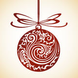 Decorative ornate Christmas ball and bow. Vector illustration Stock Image