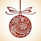 Decorative ornate Christmas ball and bow Stock Image