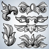 Decorative ornate engraving scroll ornament, leaves of baroque victorian frame border vector set Stock Photography