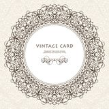 Decorative ornate frame in Victorian style. Element for design and place for text. Ornamental round border for wedding invitations and greeting cards.Vector Royalty Free Stock Image