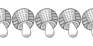 Decorative, ornate mushrooms. Black and white illustration for coloring book, page. Royalty Free Stock Photos