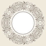 Decorative ornate round frame in Victorian style. Ornamental round border for wedding invitations and greeting cards.Vector illustration Stock Photo