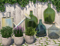 Decorative outdoor composition in the Provence style. Villatic stuff on the paving stone near the fence. 3D rendering Stock Image
