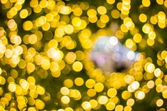 Decorative outdoor string lights hanging on tree in the garden at night time - decorative christmas lights. Bokeh Decorative outdoor string lights hanging on royalty free stock image