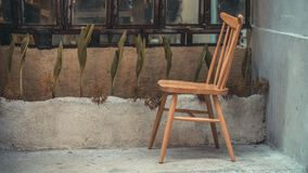Decorative Outdoor Vintage Wooden Chair stock images