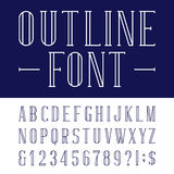 Decorative outline alphabet vector font. Royalty Free Stock Photo