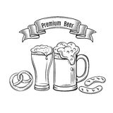 Decorative outline monochrome icons glasses of beer Royalty Free Stock Images