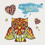 Decorative owl. Artistic handmade illustration Royalty Free Stock Images