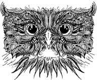 Decorative owl bird. Graphic illustration owl. handmade art illustration. Stock Photos
