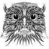 Decorative owl bird. Graphic illustration owl. handmade art illustration. Stock Image