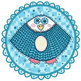 Decorative owl with blue eyes and rosy cheeks Stock Images