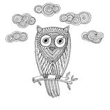 Decorative owl with cloud Royalty Free Stock Images