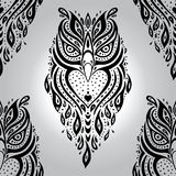 Decorative Owl. Seamless pattern. Stock Images