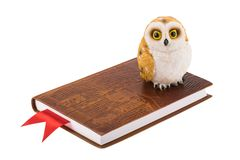 Decorative owl standing on a leather notebook with red bookmark, symbol of wisdom stock images