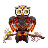 Decorative owl on a white background Royalty Free Stock Images