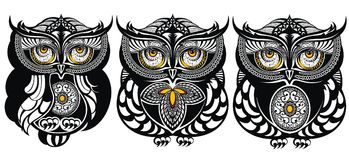 Decorative owls. Set of funny decorative owls Stock Images