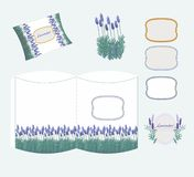 Decorative package design with lavender Stock Photos