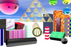 Decorative packages and balls. Illustration of various shaped colorful decorative packages, a stack of pyramids in the form of a tree and shiny colored balls Royalty Free Stock Photo