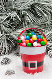 Decorative pail of Christmas gumballs Royalty Free Stock Photos