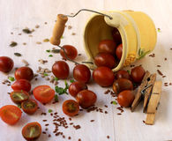 Decorative pail filled with cherry tomatoes Royalty Free Stock Photography