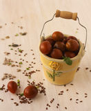 Decorative pail filled with cherry tomatoes. Stock Photography