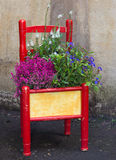 Decorative painted chair planted with various flowers Stock Photos