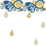 Decorative painted drops of clouds. Patterned blue pastel stock illustration