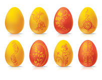 Decorative painted easter eggs. Decorative set of easter eggs with floral pattern on white background stock illustration