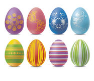 Decorative painted easter eggs. Decorative set of easter eggs with floral pattern on white background royalty free illustration