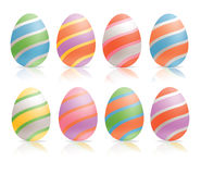 Decorative painted easter eggs. Decorative set of easter eggs on white background vector illustration