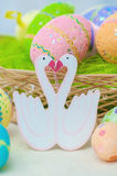 Decorative painted easter eggs on  table Royalty Free Stock Images
